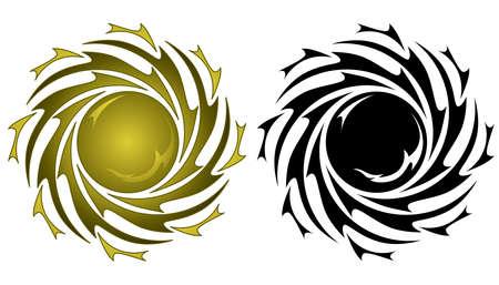 太陽のタトゥー  イラスト・ベクター素材