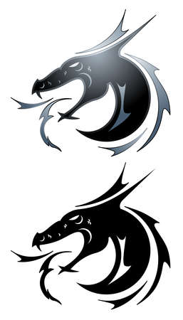 dragon fire: Black Dragon tattoo Illustration