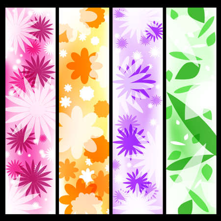 Four floral banners Illustration