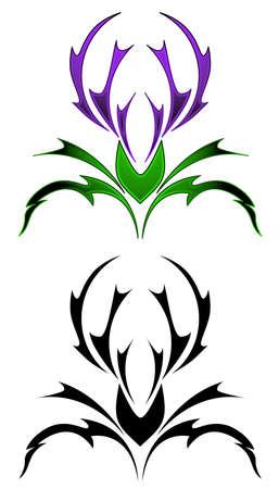 Thistle tattoo Vettoriali