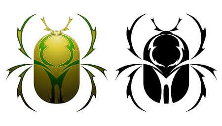 scarabeo: Disegno tatuaggio scarabeo Vettoriali