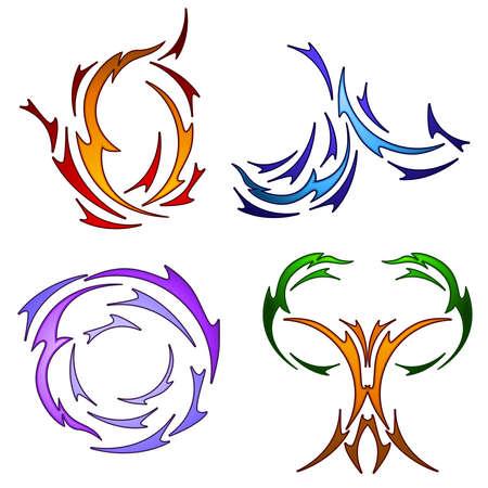 Tattoo style element symbols Vector