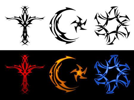 3 つの部族の宗教的なシンボル