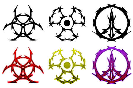 radioactive symbol: Conjunto de s�mbolos de tatuaje