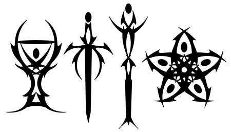 Tarot tattoo symbols Stock Vector - 9571115
