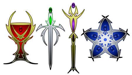 psychic: Tarot symbols in color Illustration
