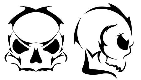 danger: Two skull tattoos