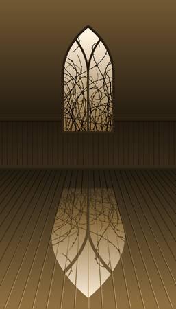 Gotisch venster met doornen Stock Illustratie