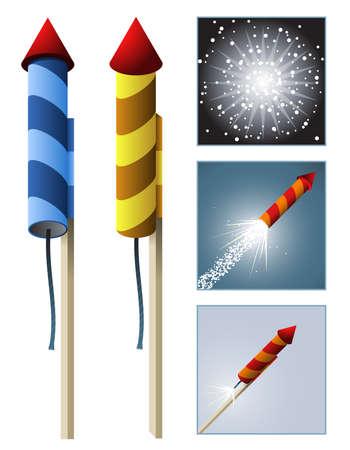시퀀스가있는 불꽃 놀이 로켓