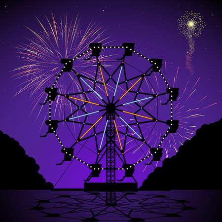 fei�ra: Roda de Ferris na noite