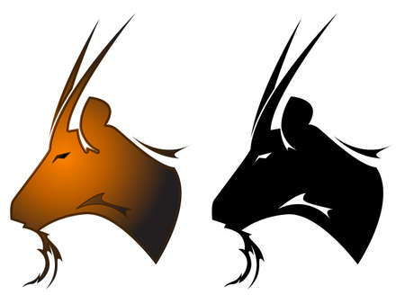 capricornio: Símbolo de tatuaje de cabra Vectores