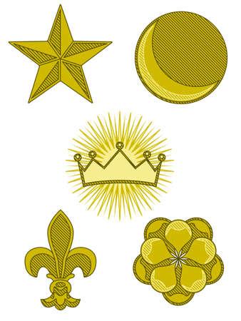 petal: Five heraldry symbols Illustration
