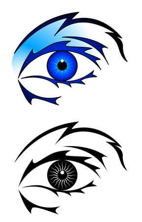 blue eyes girl: Eye tattoo