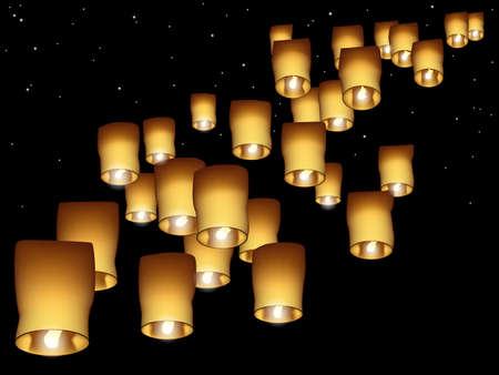 sky lantern: Lanternes de ciel Illustration