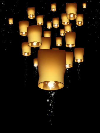 Vertical sky lantern illustration