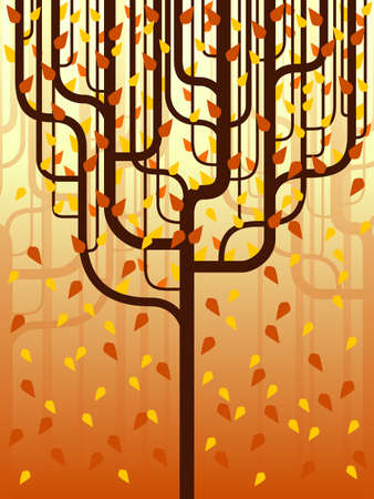 tree canopy: Stylized forest in fall Illustration
