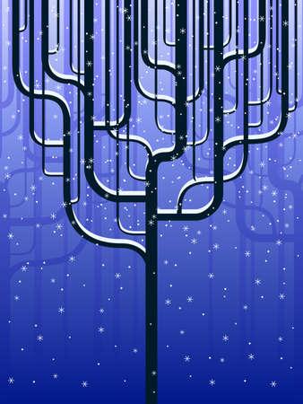 Forêt stylisée en hiver Banque d'images - 10036002