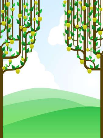 apple border: Landscape framed by apple trees