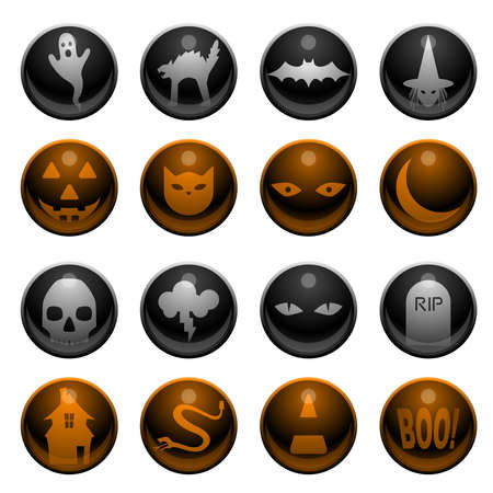 16 Halloween icons Vector