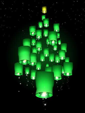 Sky lantern Christmas tree
