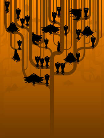 tree canopy: Crows in a stylized tree