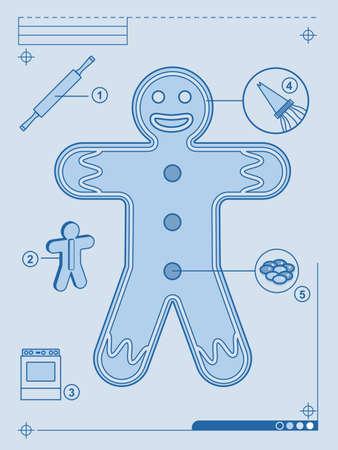 Gingerbread man blueprint Stock Vector - 10468745