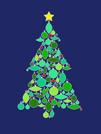Retro Ornament Christmas Tree Ilustrace