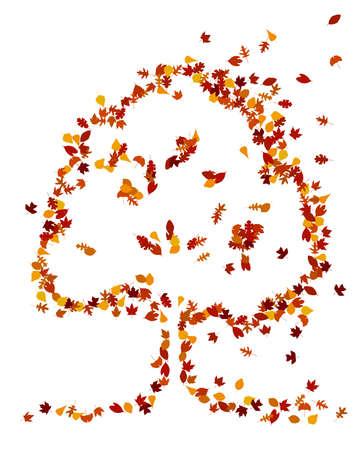 Hojas de otoño forman una forma de árbol Foto de archivo - 10486620