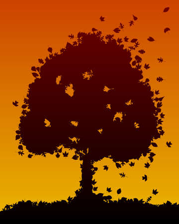 silhouettes: Tree made from leaf silhouettes Illustration