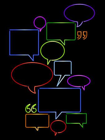 speaking tube: Neon word balloons Illustration