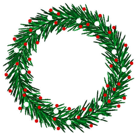 pine wreath: Sketchy Christmas wreath Illustration