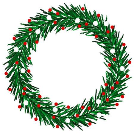 Sketchy Christmas wreath Illustration