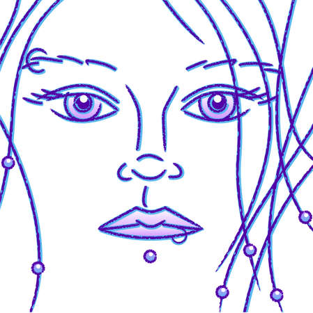 close up face woman: Pierced girl sketch