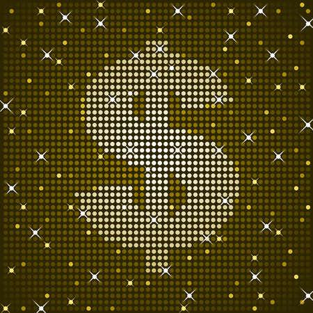 Sparkling dollar sign Vector