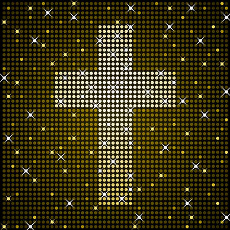Gold sparkly cross