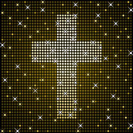 cross: Gold sparkly cross