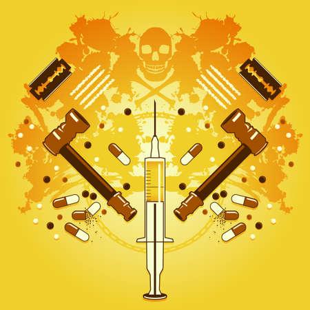 drogadiccion: Drogas y la muerte Vectores