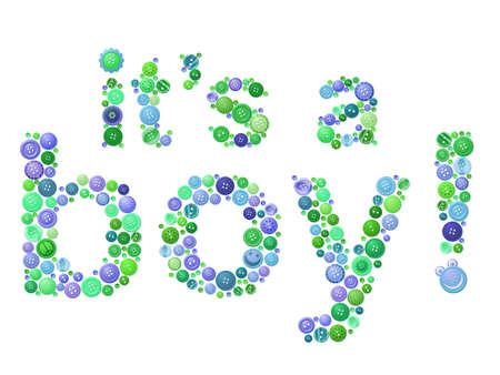 Button birth announcment for boys 일러스트