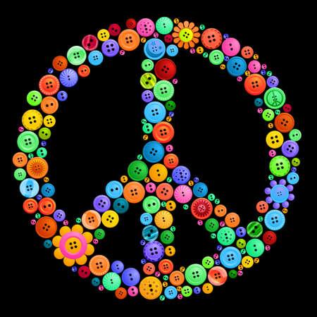 button peace sign Vectores