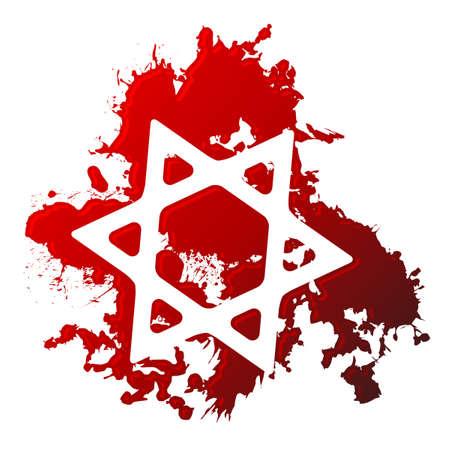 Blood star of david Vector
