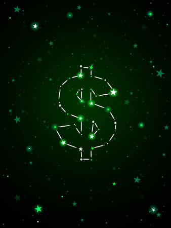 US dollar sign formed by a constellation of stars 向量圖像