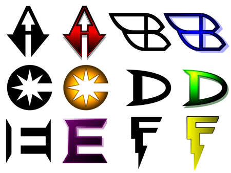 Superhero or athletics symbols a - f Stock Vector - 14221568