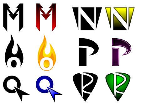 r p m: Superhero or athletics symbols m - r