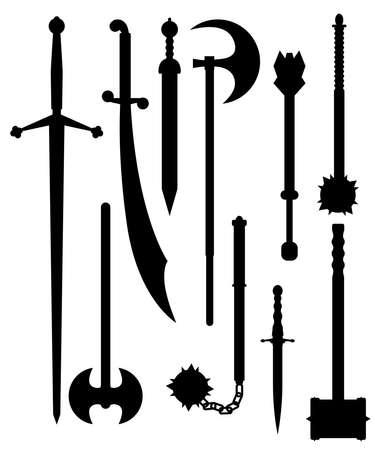 古代シルエットの武器  イラスト・ベクター素材