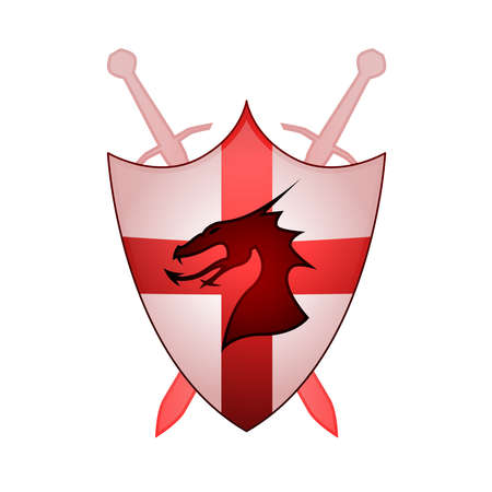 the red dragon: Cross Of England Sheild