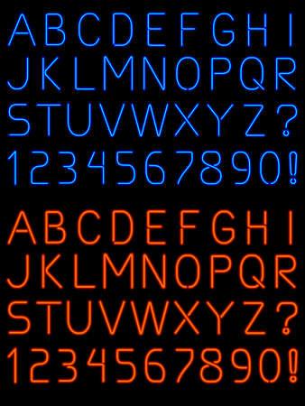 Neon alphabet font Vettoriali