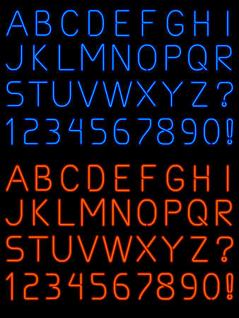c r t: Neon alphabet font Illustration