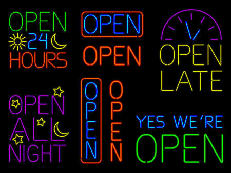 Neon Open Signs Stock Vector - 14650601