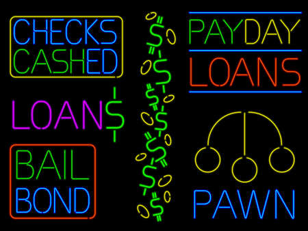 Various neon cash signs Illustration