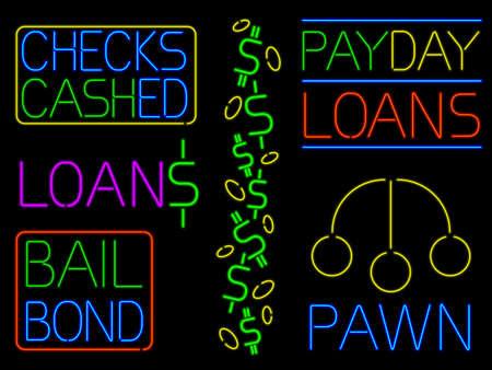 Various neon cash signs Illustration